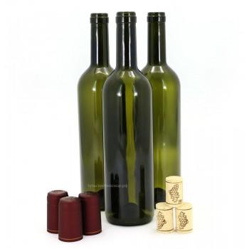 Винная бутылка 0,75л (с натуральной пробкой и термоколпачком)